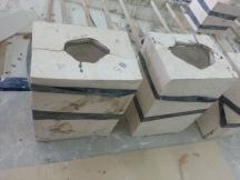 Plaster moulds sitting with porcelain slipcast