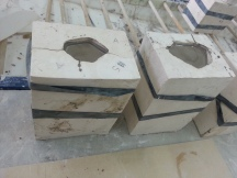 Plaster moulds sitting with porcelain slipcast