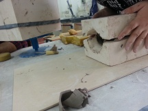 Emptying the plaster cast mould