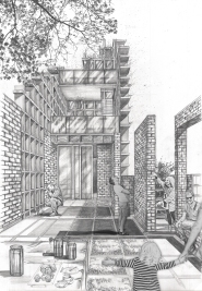 Hand-drawn perspective drawing showing the bee tower, the layered wall, the water collection grid, and a glimpse of the water garden.