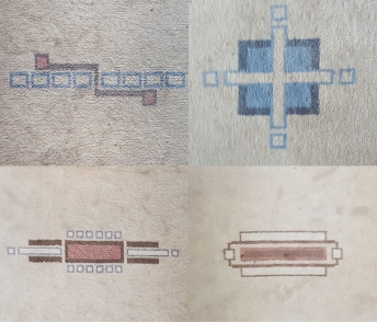 styllised plans of the house on the carpet
