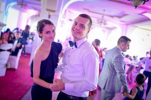 Ina and Vlad at a wedding reception.