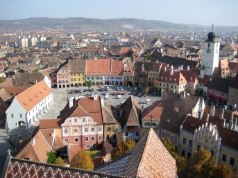 View from the tower of the Evangelical Church, looking down on the great square